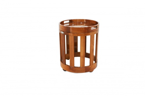 round teak end tables