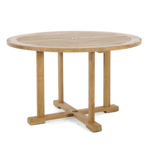 teak round dining set 4