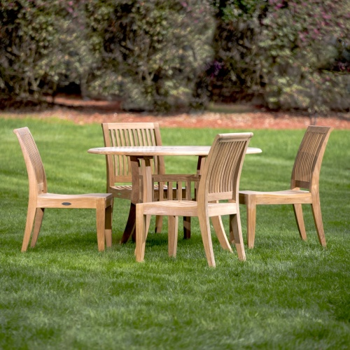 Teak Round Table Set for 4