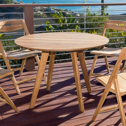 teak dining round sets for 4