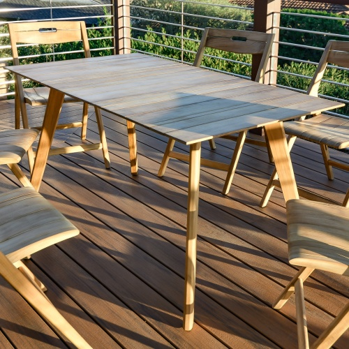 small rectangular teak outdoor dining table set for 4