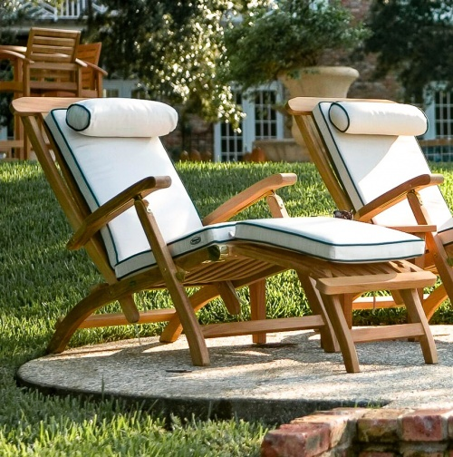 Attrayant Steamer Chairs; Teak Steamer Chair Cushions Sunbrella ...