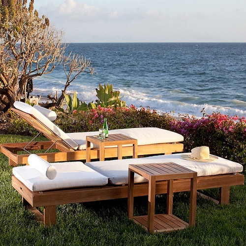 high end teak outdoor loungers
