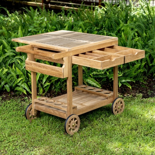 Wood Outdoor Serving Cart