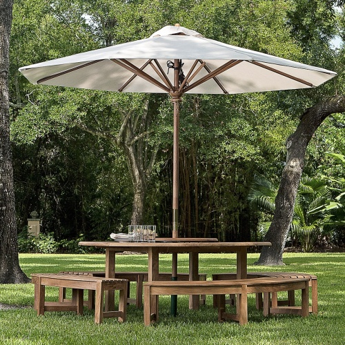 Teakwood round table umbrella