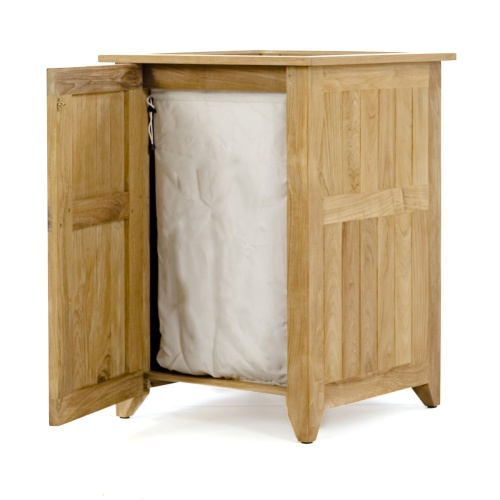 teak laundry or storage hamper