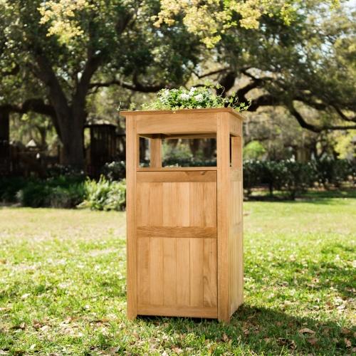 Wood Trash Bin