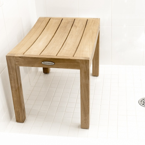 curved teakwood shower stool