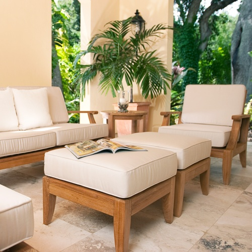 teak outdoor chairs and ottomans