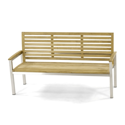Contemporary Teak and Stainless Steel Bench