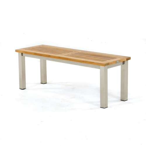 teak stainless backless bench