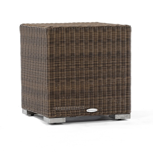 Wicker and Aluminum Side Table