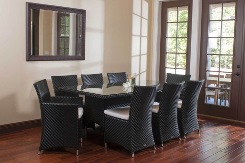 woven all-weather wicker dining table Set for 8