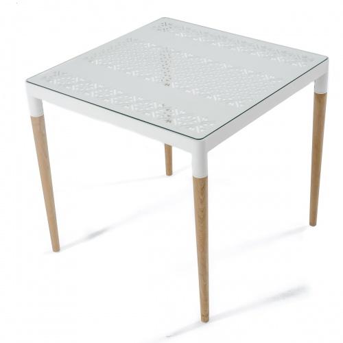 bloom square teakwood netal dining table