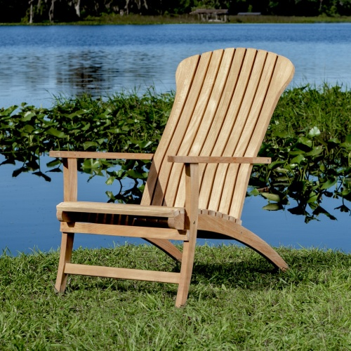 teak adirondack chair with footrest
