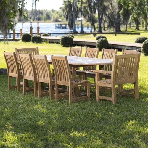 10 piece outdoor teak extension set