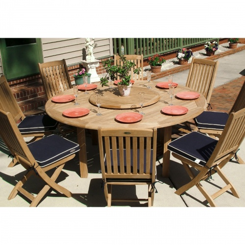 Wooden outdoor round folding set