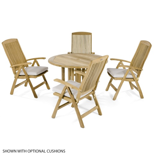 wooden round lounge set 4