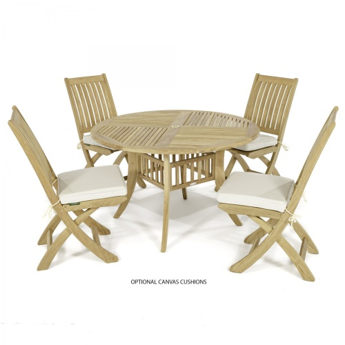 round teakwood table set for 4