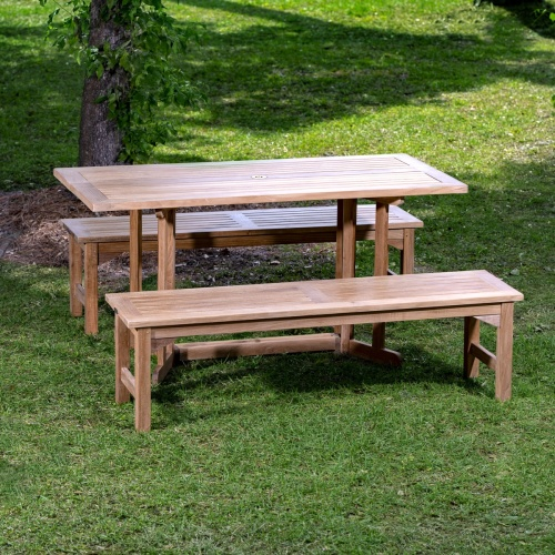 patio picnic wooden set with benches