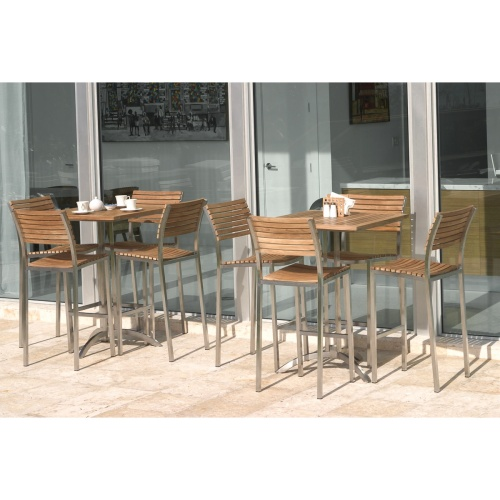 teak and stainless steel patio bar sets