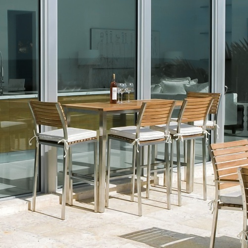 Teak and Stainless Steel High Bar Console Set for 4