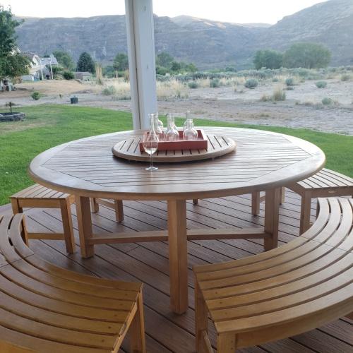 westminster 5 pc solid teak bench dining set