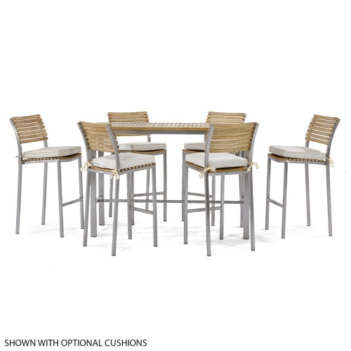 teak and stainless steel 7 piece bar set outside