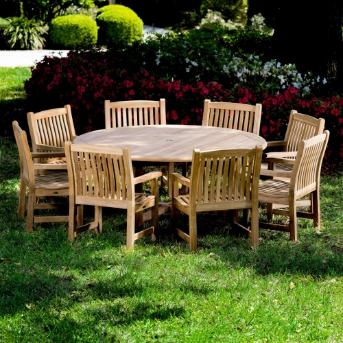 ergonomically designed teak round patio set