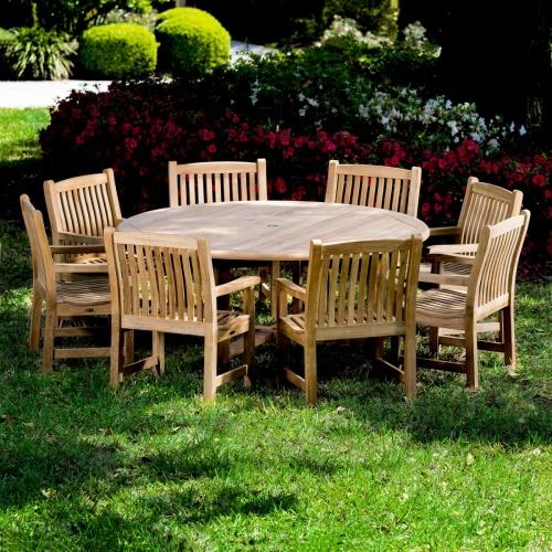 ergonomically designed teak round patio set