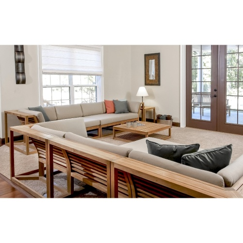 teak modular indoor sectional set