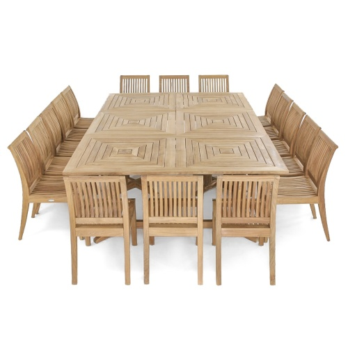 wood dining set seats 16
