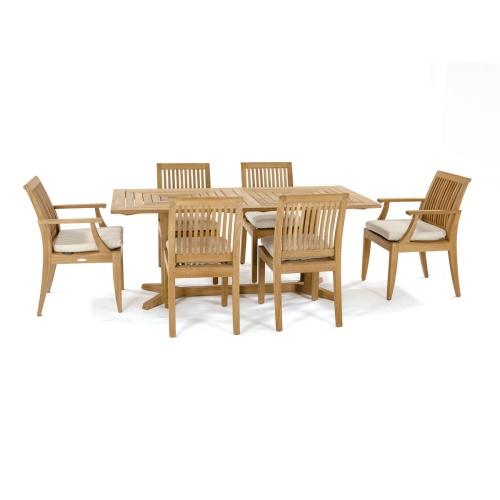 outdoor teak rectangular dining table set