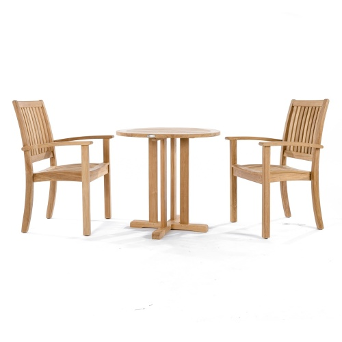 teak wood stacking bistro set