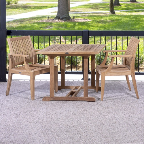 solid teak patio bistro set for two