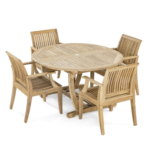 teak flex leg dining set