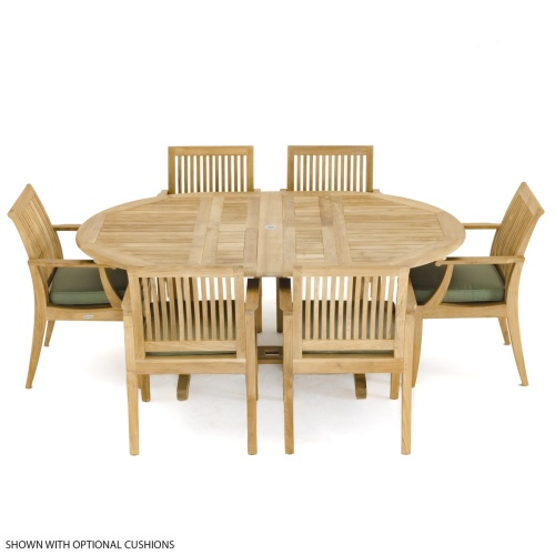 oval teak table and side chairs