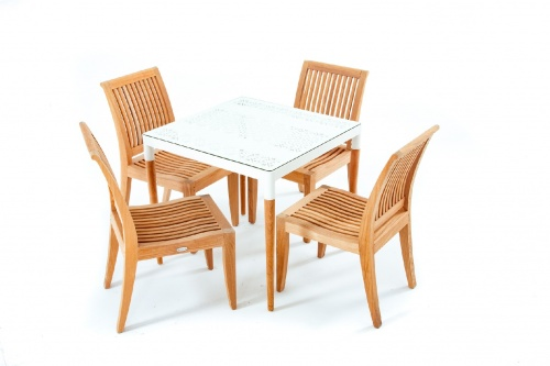 powder coated aluminum square table set