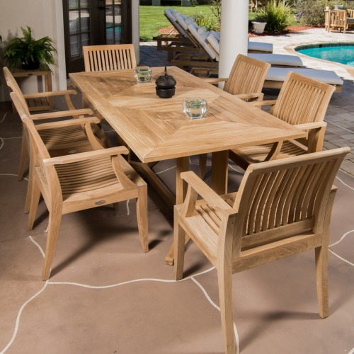 7pc teak outdoor dining sets