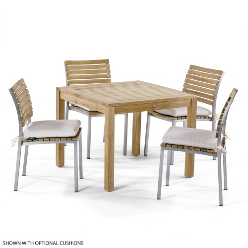 bistro teak and stanless sets