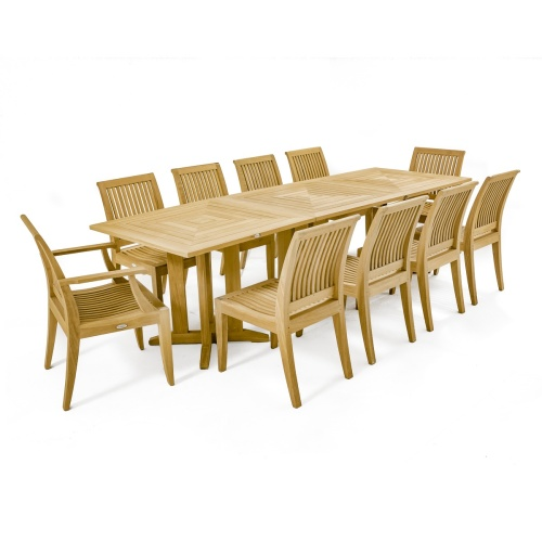 teak deck dining set for 10