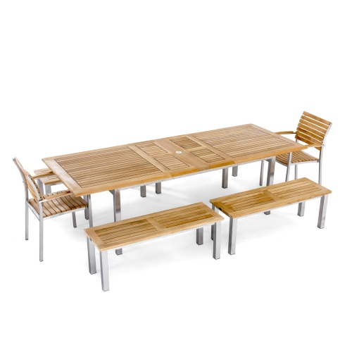 warmth of teak and stainless steel picnic set