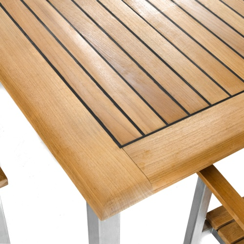rectangular marine sealed teak and stainless steel table