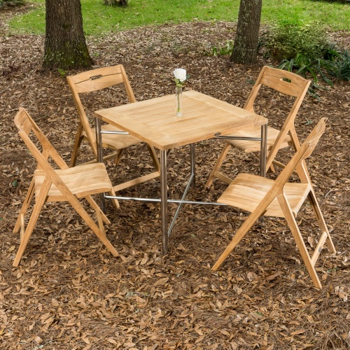 stainless steel and teak folding square bistro set