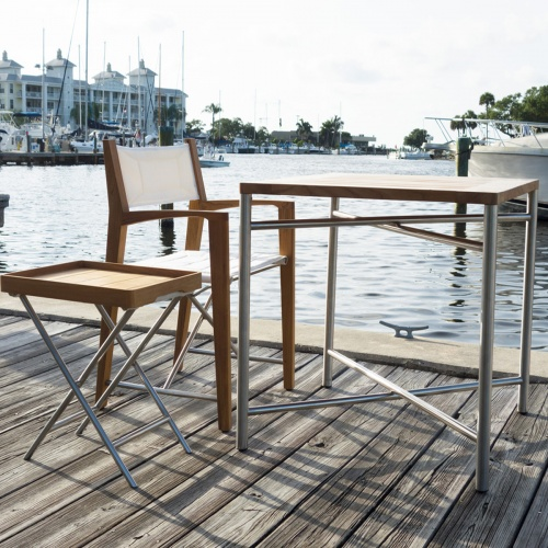 outdoor teak folding marine table set