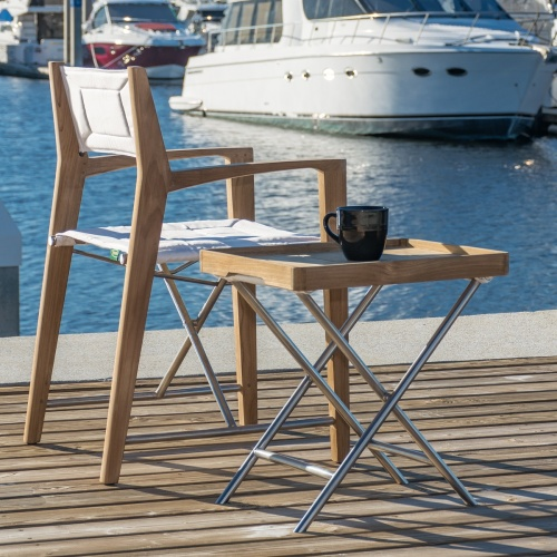 teak folding chair and ottoman