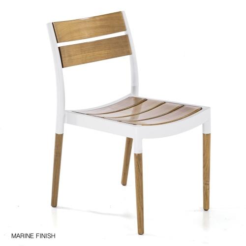 stackable teakwood aluminum cast side chair