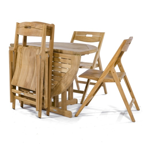 drop folding teak table and chair set