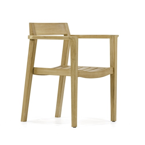 mission style teakwood stacking chairs