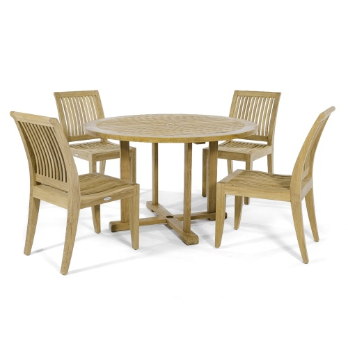 round teak indoor dining set